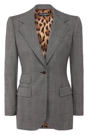 Шерстяной жакет Dolce & Gabbana. Цвет: светло-серый