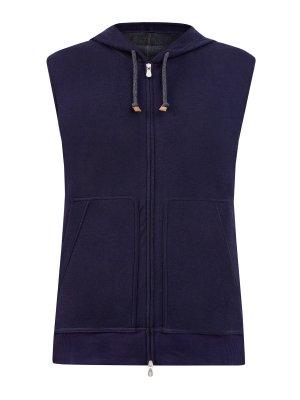 Легкий жилет из линии Travelwear хлопка интерлок BRUNELLO CUCINELLI. Цвет: синий