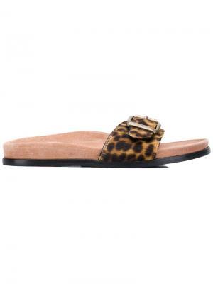 Сандалии Kitzbuhel с гепардовым принтом Avec Modération. Цвет: коричневый