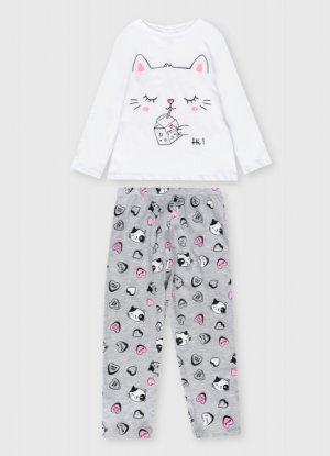 Пижама для девочек O`Stin. Цвет: жемчужно-серый