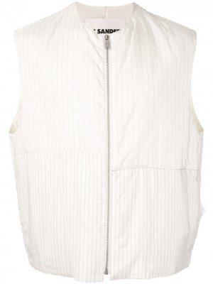 Полосатый жилет Jil Sander. Цвет: белый