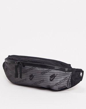 Черно-белая сумка-кошелек на пояс с принтом логотипа Heritage-Черный Nike