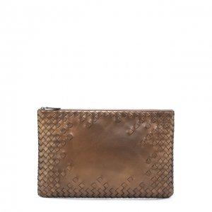 Кожаный футляр для документов с плетением intrecciato Bottega Veneta. Цвет: бронзовый