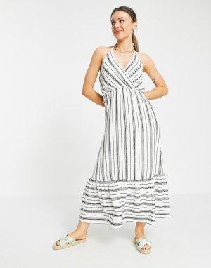 Платье макси в полоску с завязкой на шее -Белый Gilli