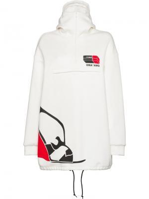 Толстовка с капюшоном и логотипом Prada. Цвет: белый