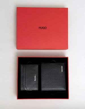 Подарочный набор из кожаных бумажника и визитницы By Hugo Boss. Цвет: черный