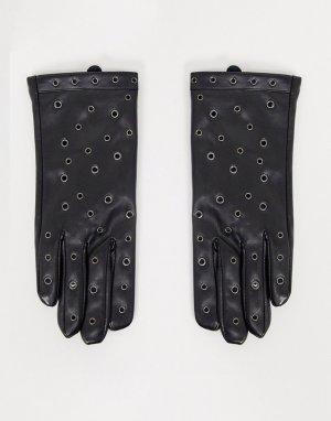 Перчатки из черной искусственной кожи с бантами отделкой люверсами London-Черный My Accessories