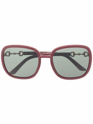 Солнцезащитные очки Horsebit Gucci Eyewear. Цвет: красный