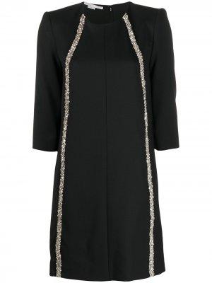 Платье-трапеция с бисером Stella McCartney. Цвет: черный