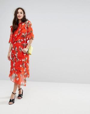 Красная юбка миди с оборками и цветочным принтом -Черный Miss Selfridge