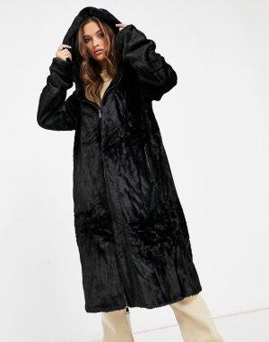 Черное длинное пальто из искусственного меха с капюшоном и кулиской -Черный Jayley