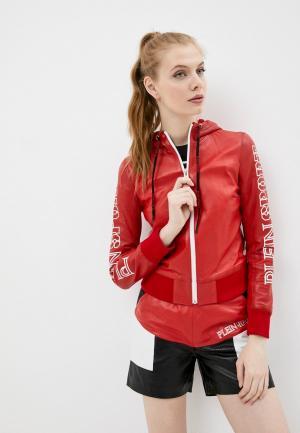 Куртка кожаная Plein Sport. Цвет: красный