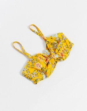 Желтый бикини-топ бандо для груди большого размера с цветочным принтом и чашечками на косточках Figleaves