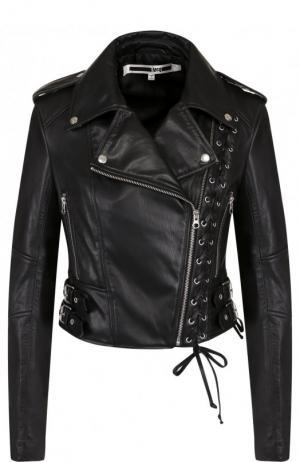 Приталенная кожаная куртка с косой молнией MCQ. Цвет: черный