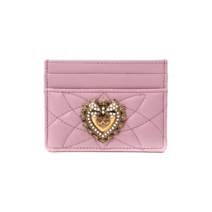 Кожаный футляр для кредитных карт Dolce & Gabbana. Цвет: розовый