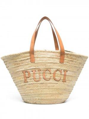 Пляжная сумка с логотипом Emilio Pucci. Цвет: нейтральные цвета