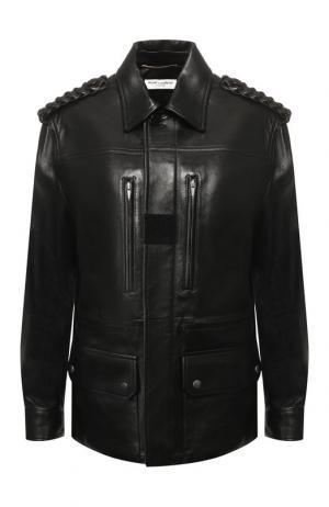Кожаная куртка с накладными карманами Saint Laurent. Цвет: черный