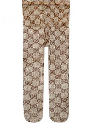 Колготки с узором GG Gucci. Цвет: коричневый
