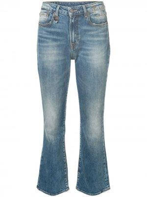 Расклешенные укороченные джинсы R13. Цвет: синий
