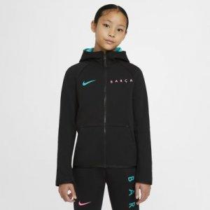 Худи с молнией во всю длину для школьников FC Barcelona Tech Fleece - Черный Nike
