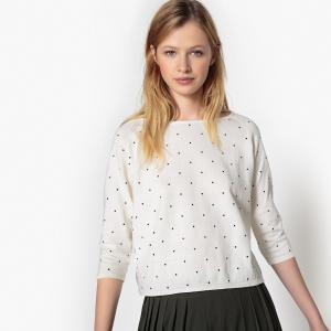 Пуловер с вырезом-лодочкой и рисунком в горошек LA REDOUTE COLLECTIONS. Цвет: в горошек/фон черный,рисунок горошек фон экрю