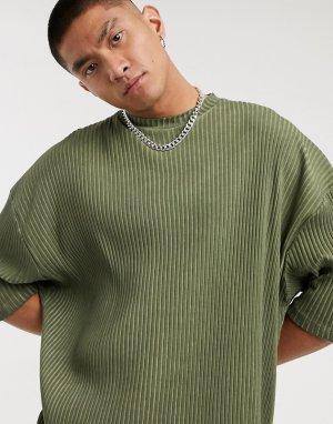 Удлиненная футболка в стиле oversized с рукавами до локтя из материала рубчик цвете хаки эффектом масляной стирки -Зеленый ASOS DESIGN