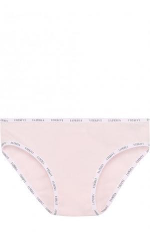 Трусы-слипы с логотипом бренда La Perla. Цвет: розовый