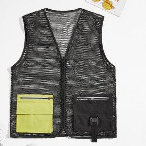 Мужской с молнией двойной карманом сетчатый Жилет Куртка SHEIN. Цвет: чёрный