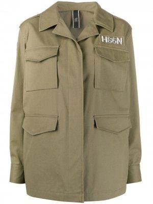 Пальто в стиле милитари Hogan. Цвет: зеленый