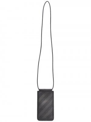 Картхолдер со шнурком на шею и логотипом Off-White. Цвет: черный