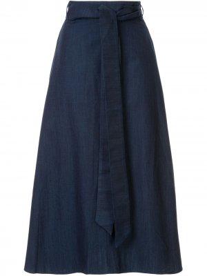 Джинсовая юбка с запахом Tibi. Цвет: синий