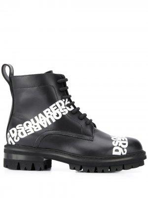 Ботинки на шнуровке с логотипом Dsquared2. Цвет: черный