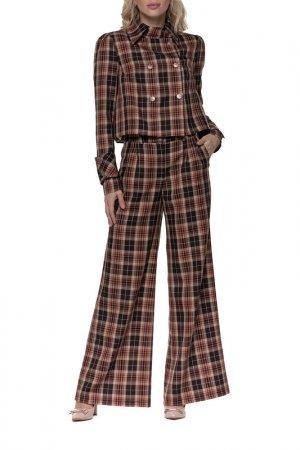 Костюм: жакет, брюки Adzhedo. Цвет: коричневый, клетка