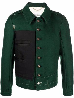 Куртка с контрастной вставкой Maison Margiela. Цвет: зеленый