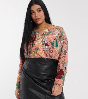 Блузка с цветочным принтом и V-образным вырезом -Мульти Junarose