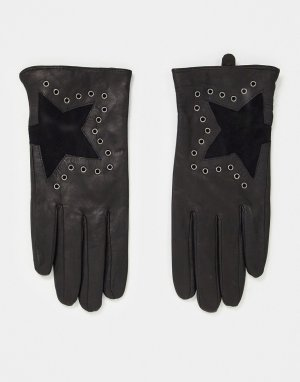 Черные кожаные перчатки со звездочками -Черный цвет House of Holland