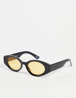 Солнцезащитные очки в черной овальной оправе с желтыми линзами -Черный цвет ASOS DESIGN