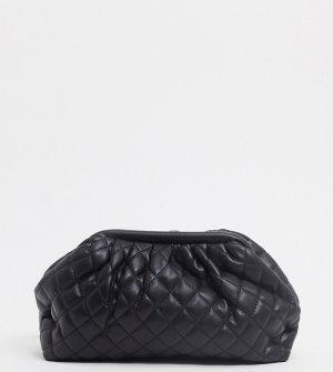 Эксклюзивный черный стеганый клатч-подушка Glamorous