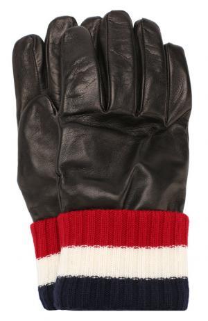 Кожаные перчатки Moncler. Цвет: черный