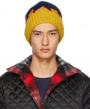 Navy & Yellow Hand-Knit Flame Tongue Beanie Bless. Цвет: yel/red/blu