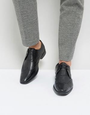 Черные кожаные броги Smart Silver Street. Цвет: черный