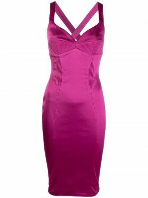 Облегающее платье миди со вставками в рубчик Murmur. Цвет: розовый