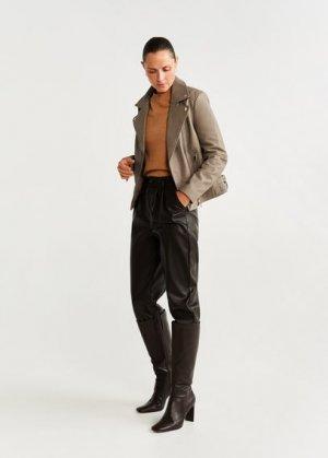 Кожаная байкерская куртка с лацканами - Mink Mango. Цвет: пастельный светло-серый