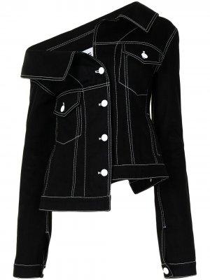 Джинсовая куртка асимметричного кроя Monse. Цвет: черный