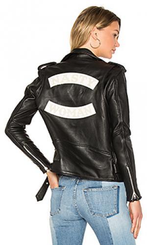 Кожаная куртка nasty woman mc club Understated Leather. Цвет: черный