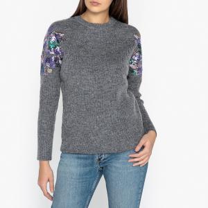 Пуловер из мохера меланж с блестками DOUGLASS BERENICE. Цвет: серый