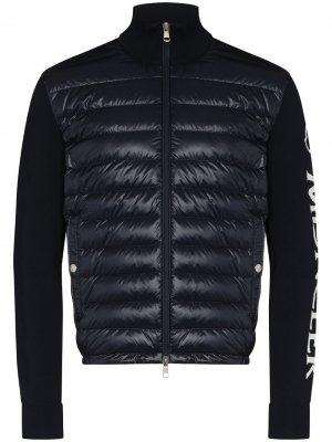 Стеганая куртка на молнии с логотипом Moncler. Цвет: синий