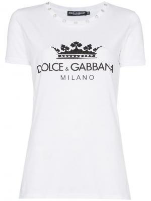 Футболка с логотипом и отделкой стразами Dolce & Gabbana. Цвет: белый