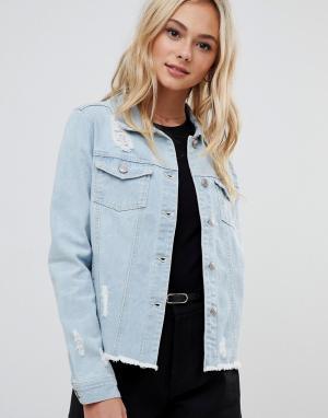 Выбеленная джинсовая куртка -Синий Urban Bliss