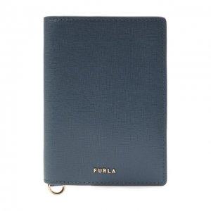 Кожаная обложка для паспорта Furla. Цвет: синий